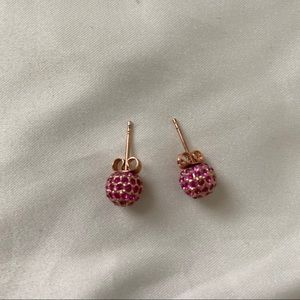 COACH Rose gold stud earrings with pink stones